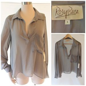 Rory Beca Gray Sheer Blouse Georgette NWT Sz Small